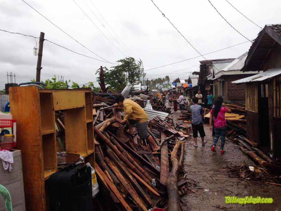 Houses were destroyed by big waves in Bgry. Sto. Naval, Biliran.