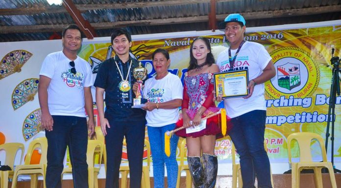 Banda Hudyaka 2016.Champion. Naval National HighSchool with Naval Mayor GeraRd Espina and Naval Fiesta Execom chairman Allan Paul Tubis