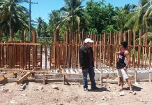 Engr. David P. Adongay Jr., (wearing hat) District Engineer of Biliran District Engineering Office (BDEO) visits on-going Replacement of Banlas Bridge (B00061BR) along Maripipi Circumferential Road on April 28, 2017. The said project is implemented by Biliran DEO under 2016 General Appropriations Act (GAA) with an accomplishment of 80% as of April 30, 2017. Upon Adongay's inspection, the project is on-going with installation of forms and scaffolding for girder and slab of the bridge.