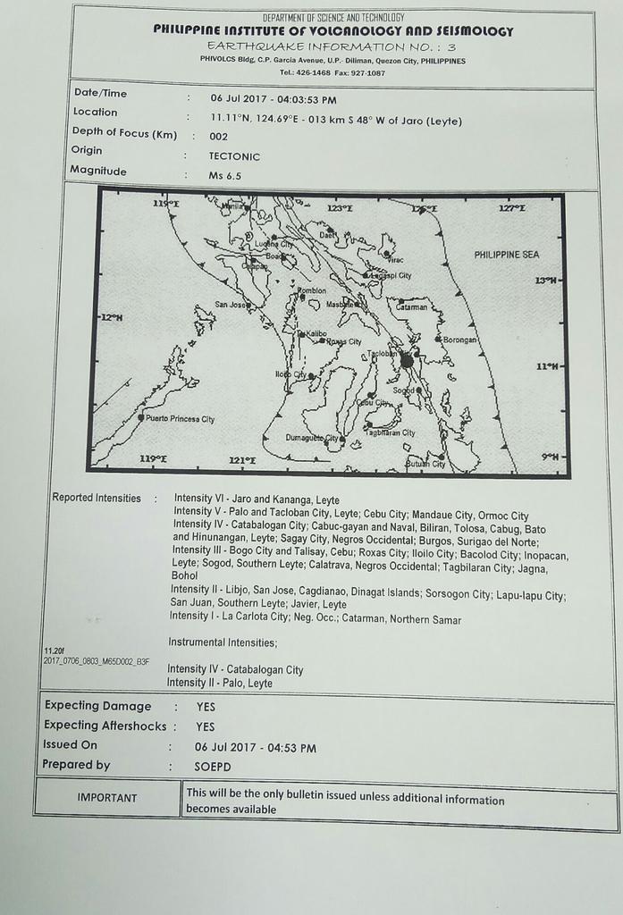 UPDATE SA LINOG. Magnitude 6.5 ang nasinati kaganina nga linog ug ang epicenter niini anaa sa Jaro, Leyte.